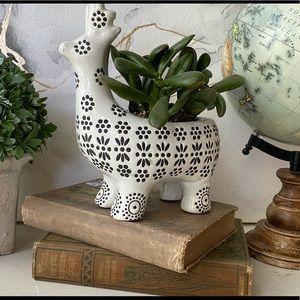 Ceramic Little Llama Planter Decor